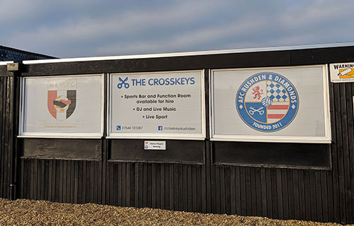 Window graphics for a football club