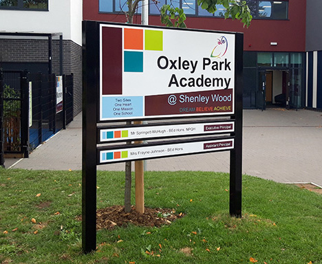 Oxley Park Academy post sign for Shenley Wood site