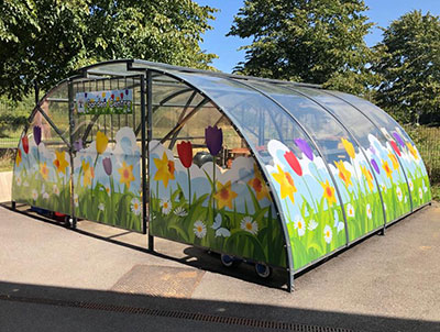Graphics fitted to an external building in the Nursery area at a Primary School