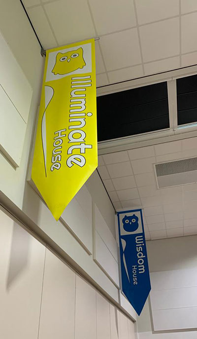 House Banners in a Primary School Hall