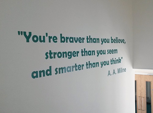 A A Milne quote vinyl wall sign for a Junior School