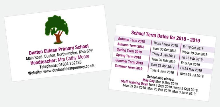 Primary School term date cards