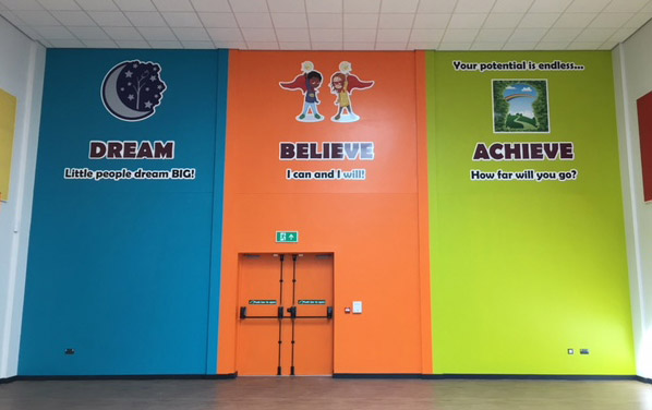 Dream Believe Achieve values wall signs fitted in a Primary School hall