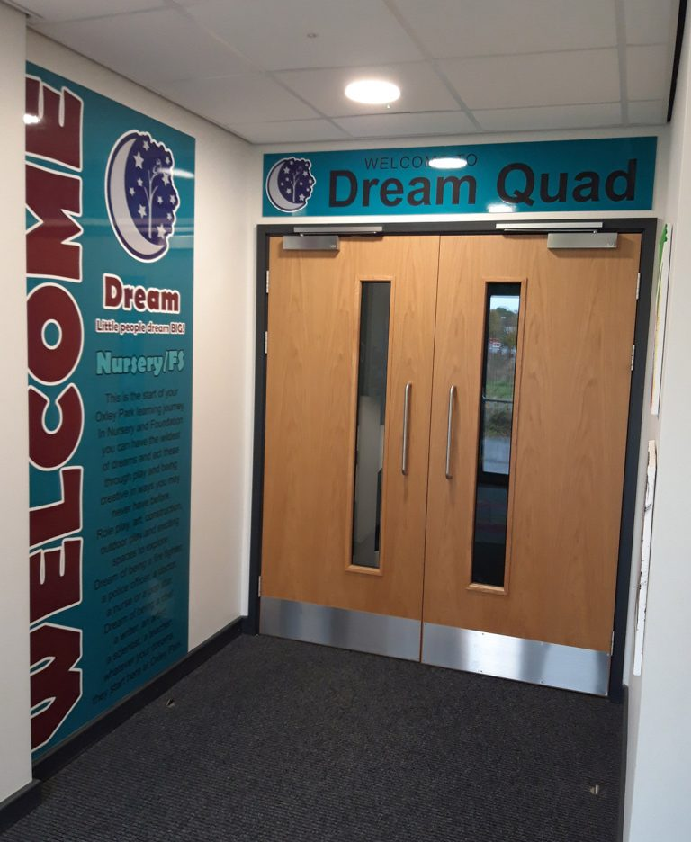 Corridor signs in a Primary School