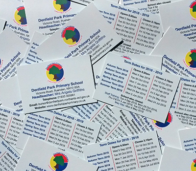 Term date cards for a Primary School
