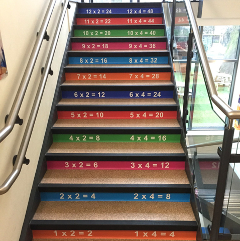 School times tables stair graphics at a Primary School