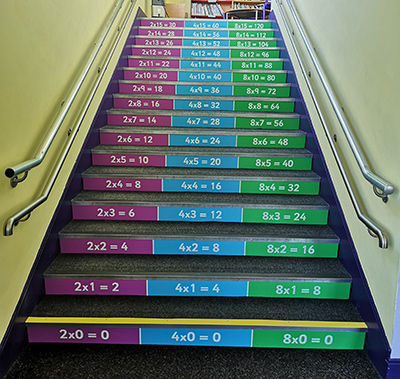 Times table stair graphics for schools in bespoke designs