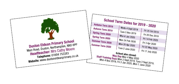 Term date cards for Schools