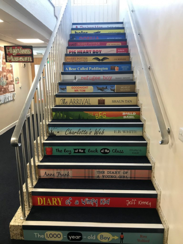 Book spine stair graphics for schools