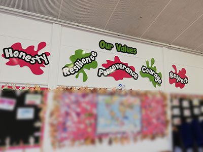 School Values signage for a Primary School
