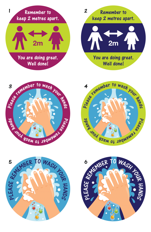 Coronavirus Covid-19 floor stickers for schools