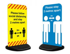 Coronavirus Covid-19 design pavement stand signage for schools and businesses