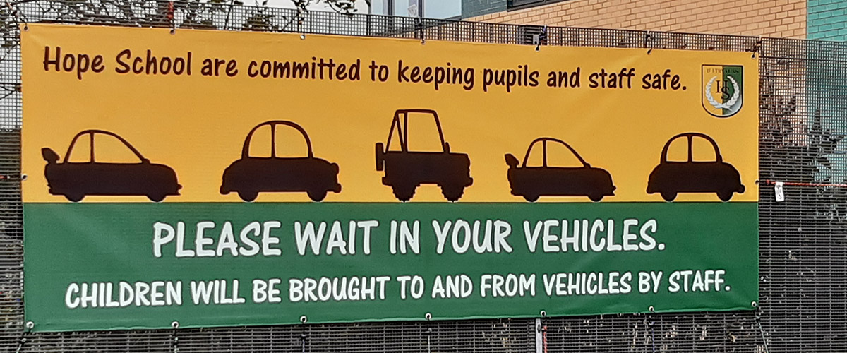 Coronavirus Covid-19 PVC banner signage for Schools with message for children