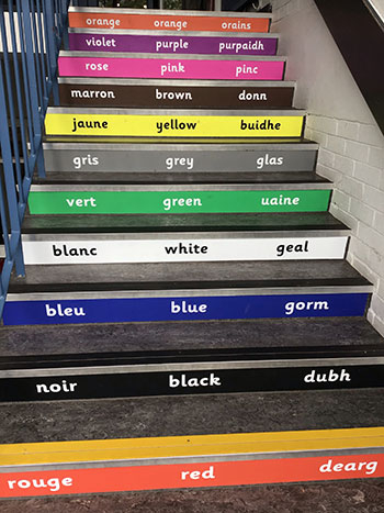 Literacy stair graphics colours in three languages for Primary and Junior Schools