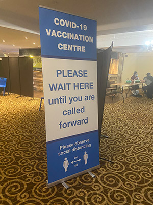 Covid-19 banner stand signage for Vaccination Centres Surgeries and Pharmacies