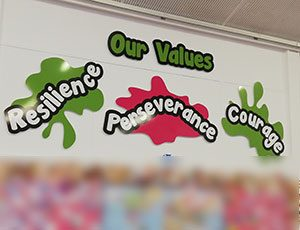 Primary school Values signs in a hall