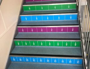 Fractions stair graphics and decals for Primary schools