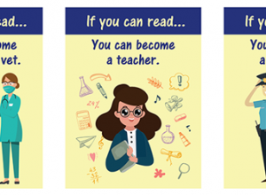 Promote reading signage for primary school age children