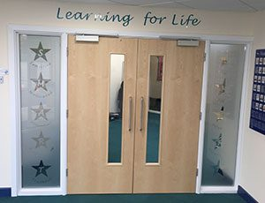 Primary school frosted vinyl Values on windows