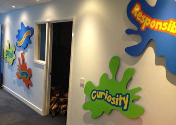 School wall mounted shaped values signs