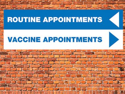 Covid 19 Vaccination Centre directional pvc banner signage for GP surgeries, designated vaccine sites, and Pharmacies