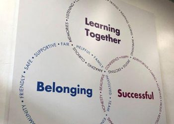 Values signage for a Primary School hall wall